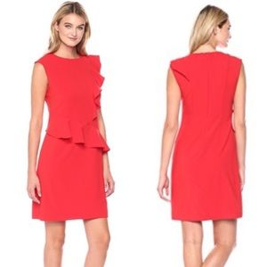 NWT Eci New York Red Ruffle Sheath Dress